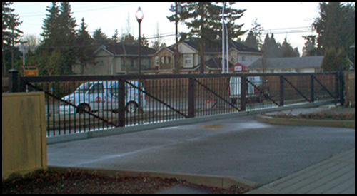 64' LONG STEEL CANTILEVER SLIDING GATE WITH CROSS SUPPORTS AND GUSSETS