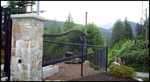 CANTILEVER SLIDING DRIVEWAY GATE IN OPEN POSITION