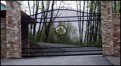 CUSTOM ORNAMENTAL STEEL CANTILEVER SLIDING DRIVEWAY GATE