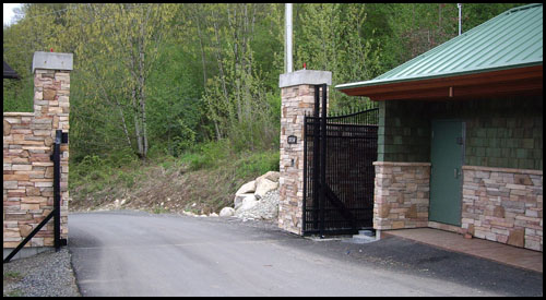 AUTOMATED DRIVEWAY GATE IN OPEN POSITION